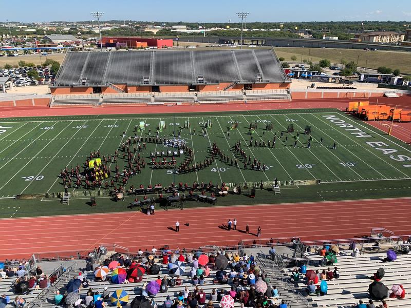 Marching band making a W on the field