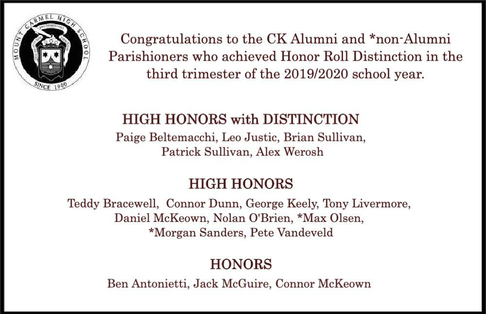 Mt. Carmel HS Honors 2019.2020 Third Trimester