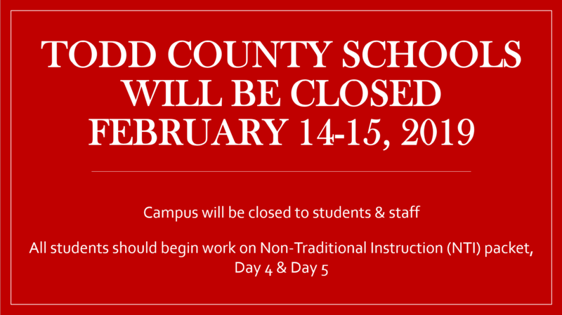 Todd County Schools Closed February 14 & February 15, 2019 Featured Photo