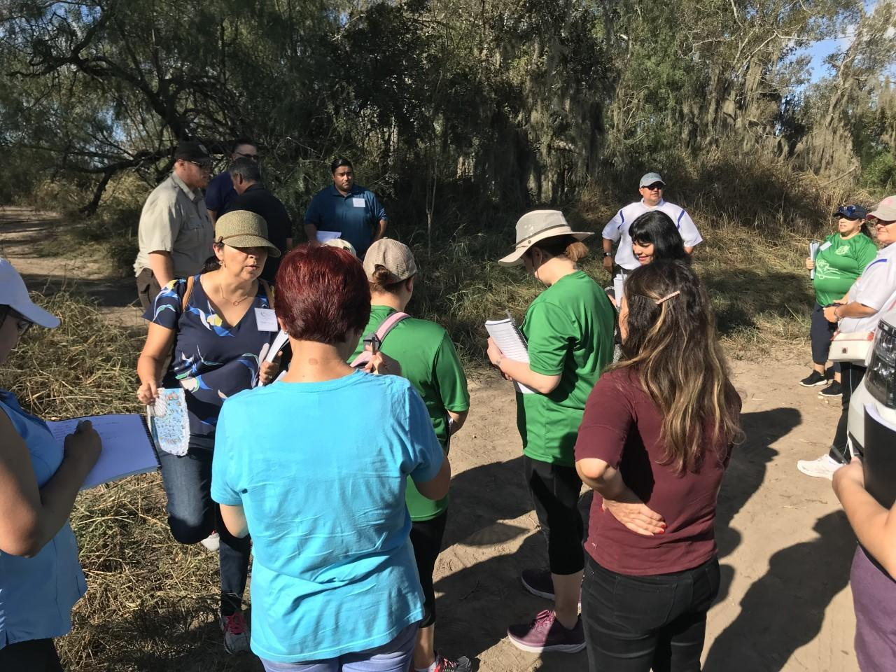Group hiking on a trail