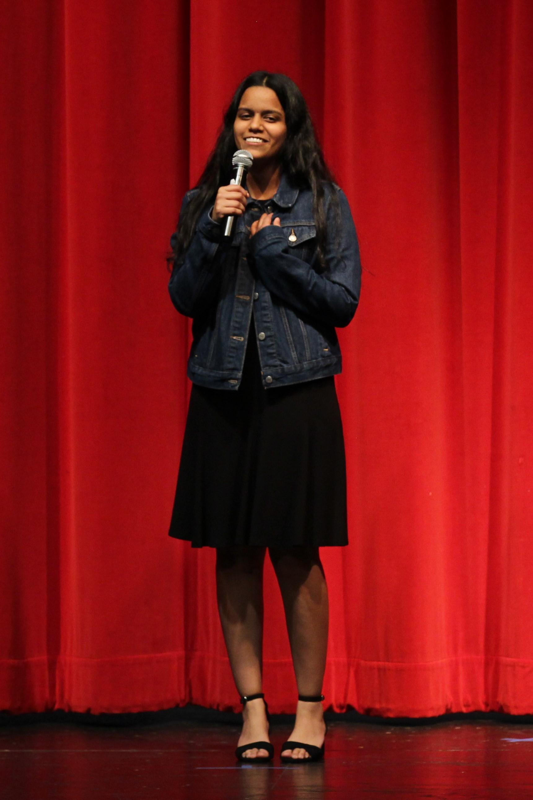 Natasha Bhardwaj singing at the talent show