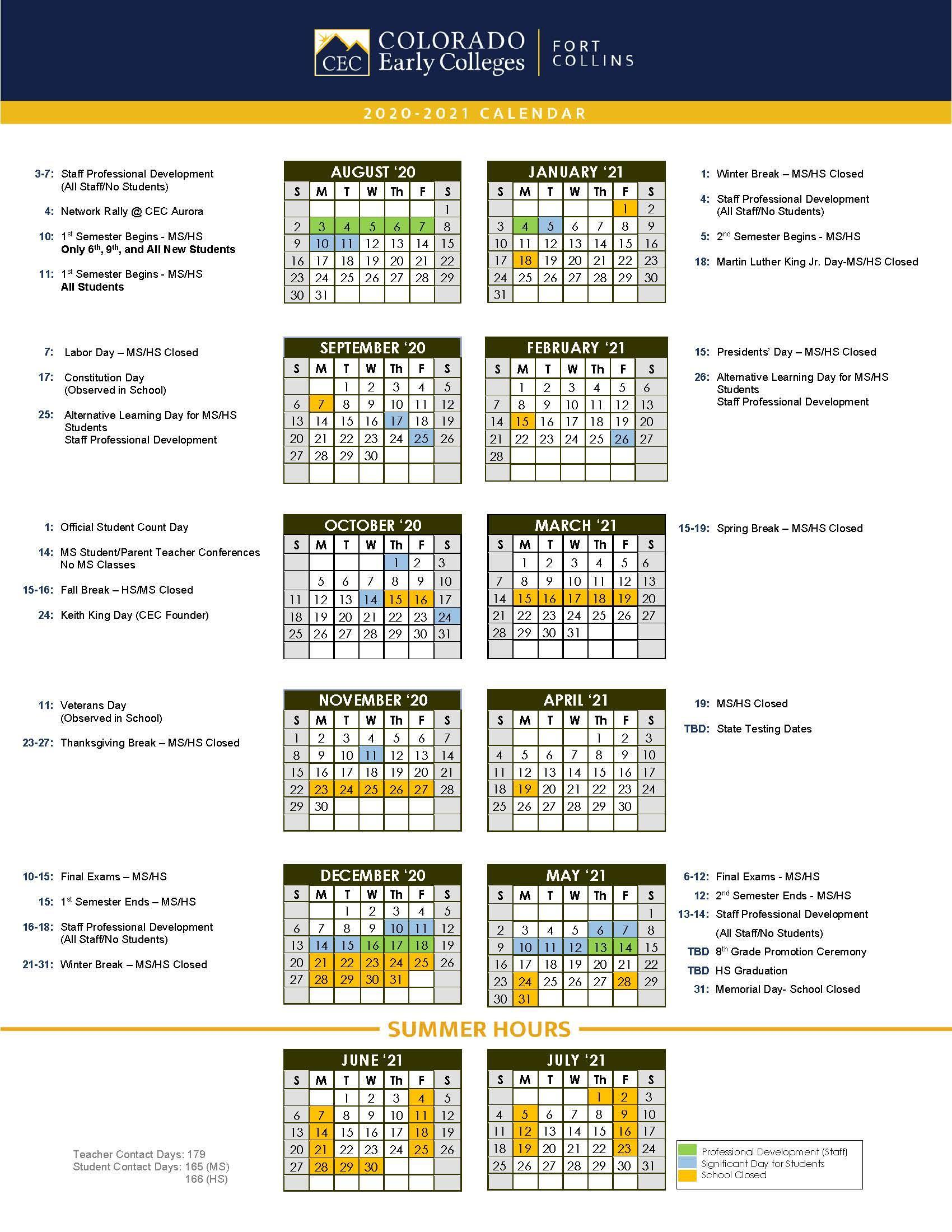 Official School Calendars Miscellaneous Cec Fort Collins