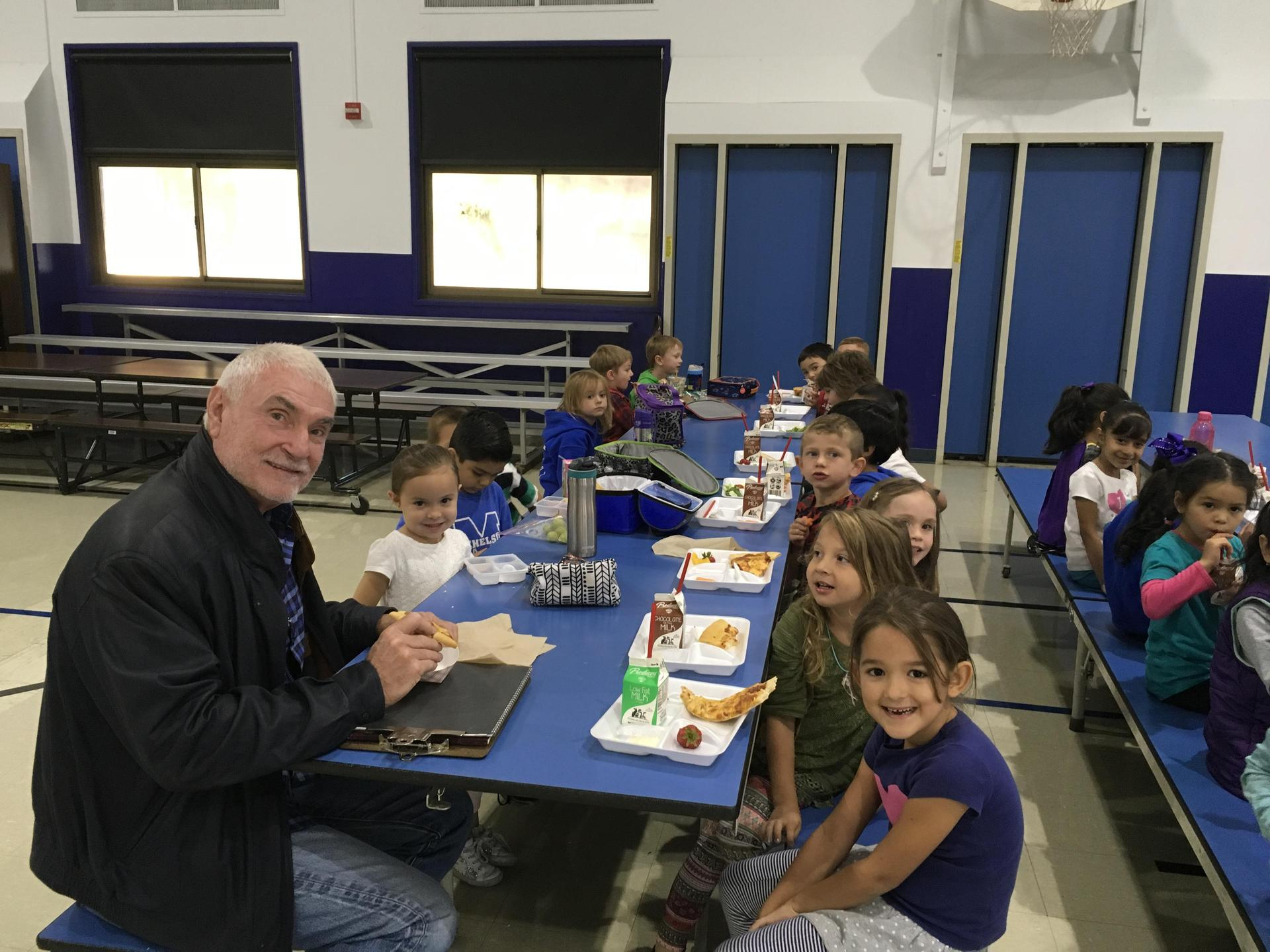 Mr Frost having lunch with students