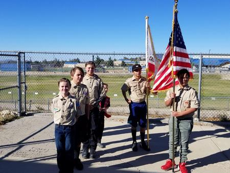 Boy Scouts presenting flags