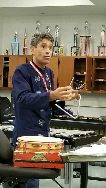guest musician talking to students