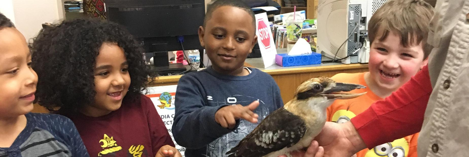 Kindergarteners not only learned about animals but got to meet and interact with some too!