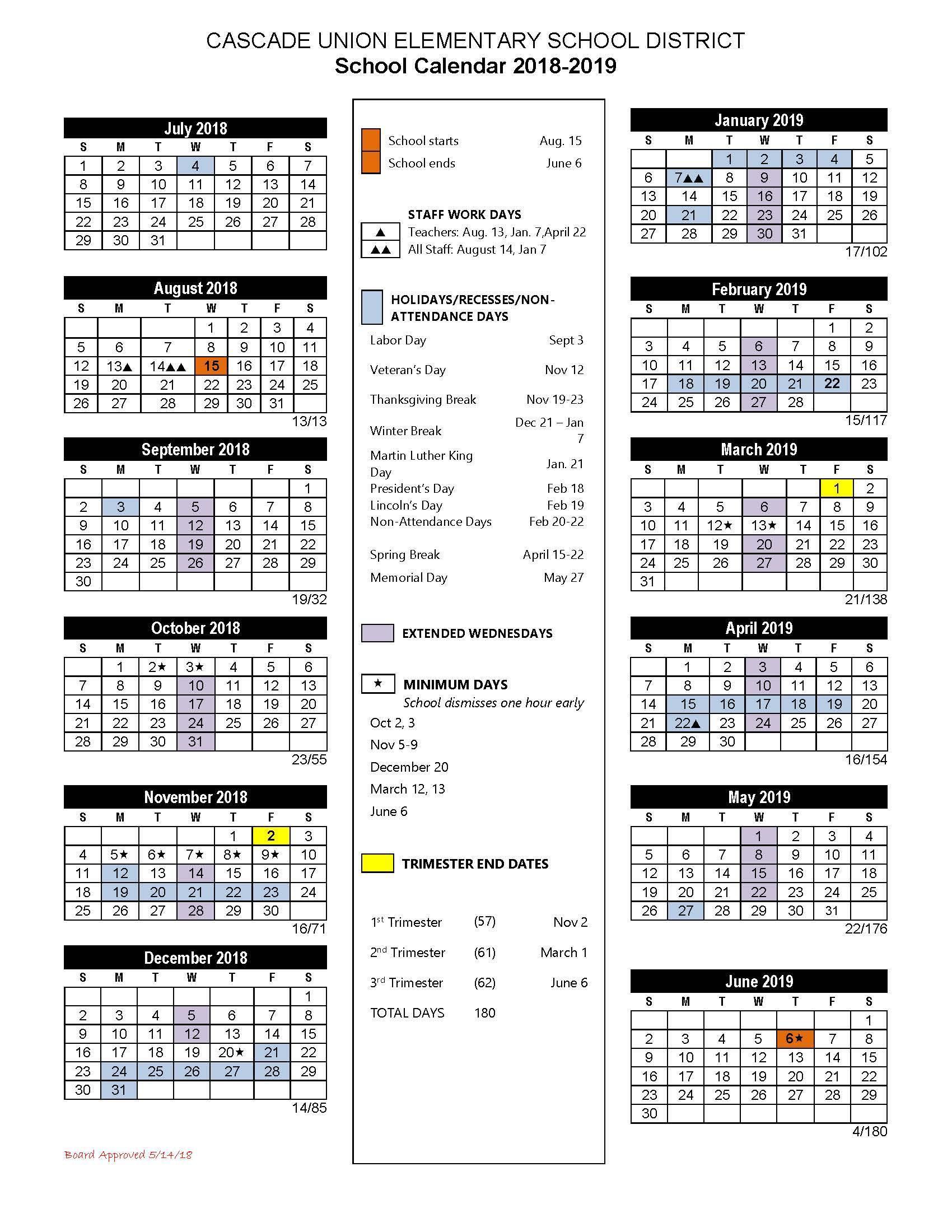 California School Calendar 2019 School Calendars – School Calendar – Cascade Union Elementary