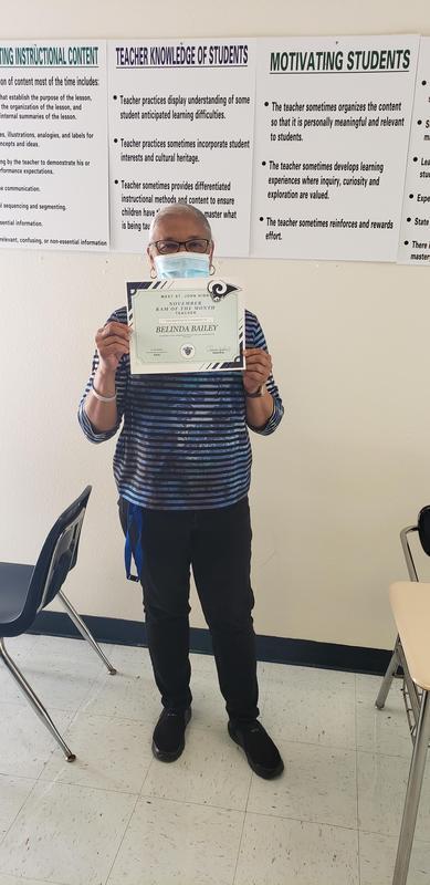 Belinda Bailey, Teacher of the Month, November