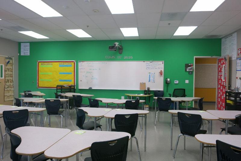 Staged classroom for the middle school.