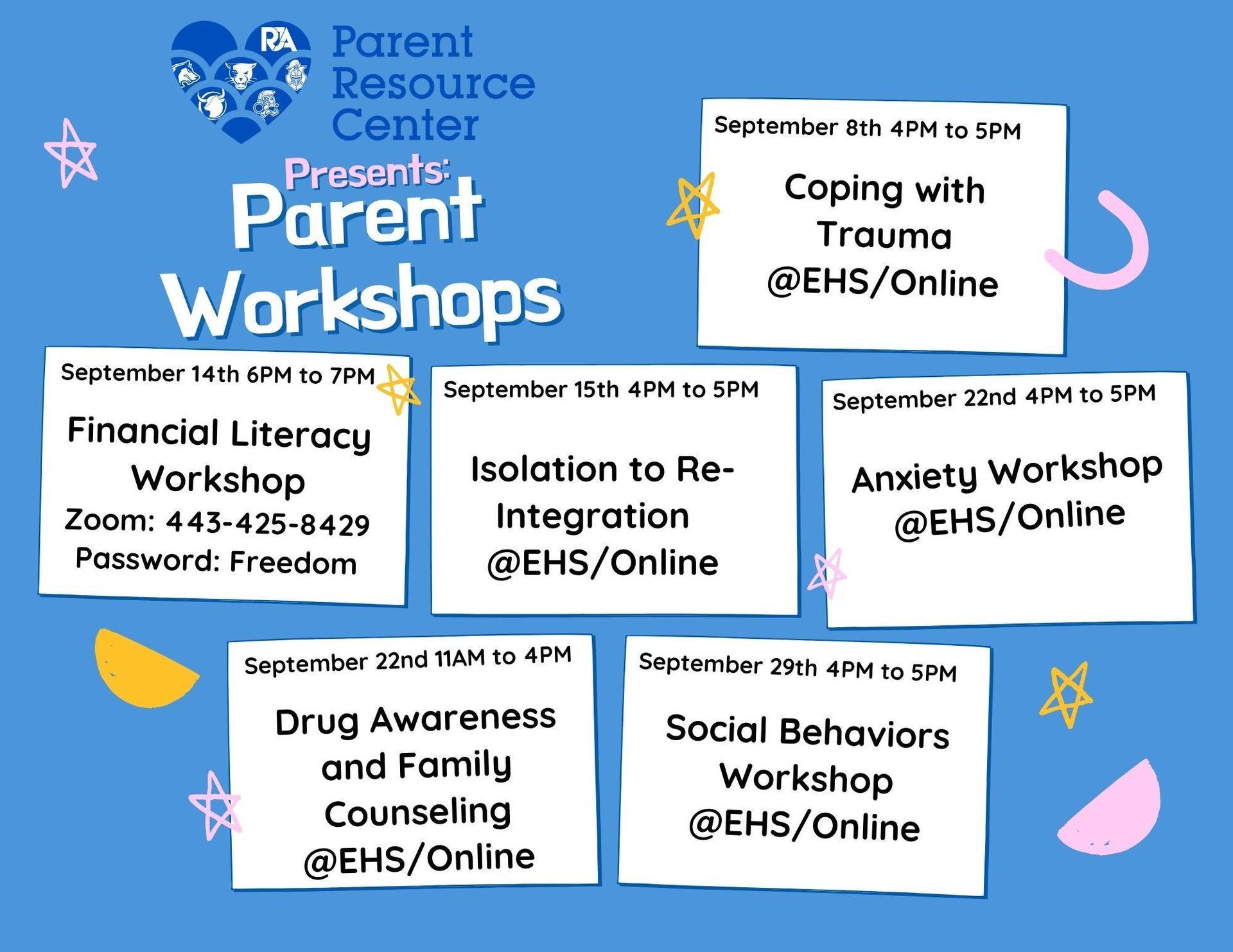 RJA Parent Center presents Parent University. Free workshops for the month of September