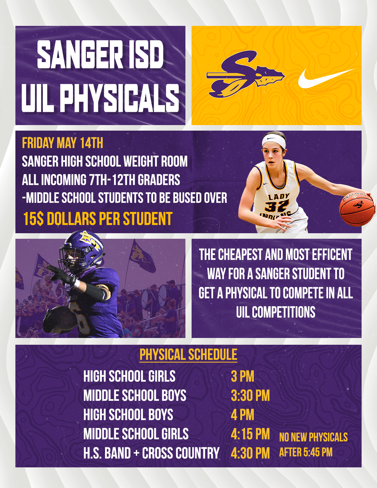 Sanger ISD Physicals on May 14th