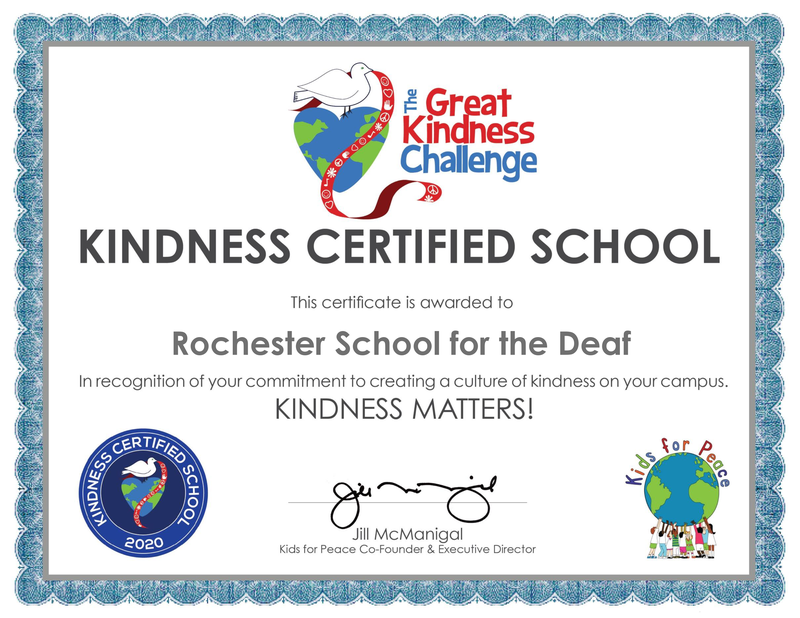 Rochester School for the Deaf Participates in the Great Kindness Challenge Program Featured Photo