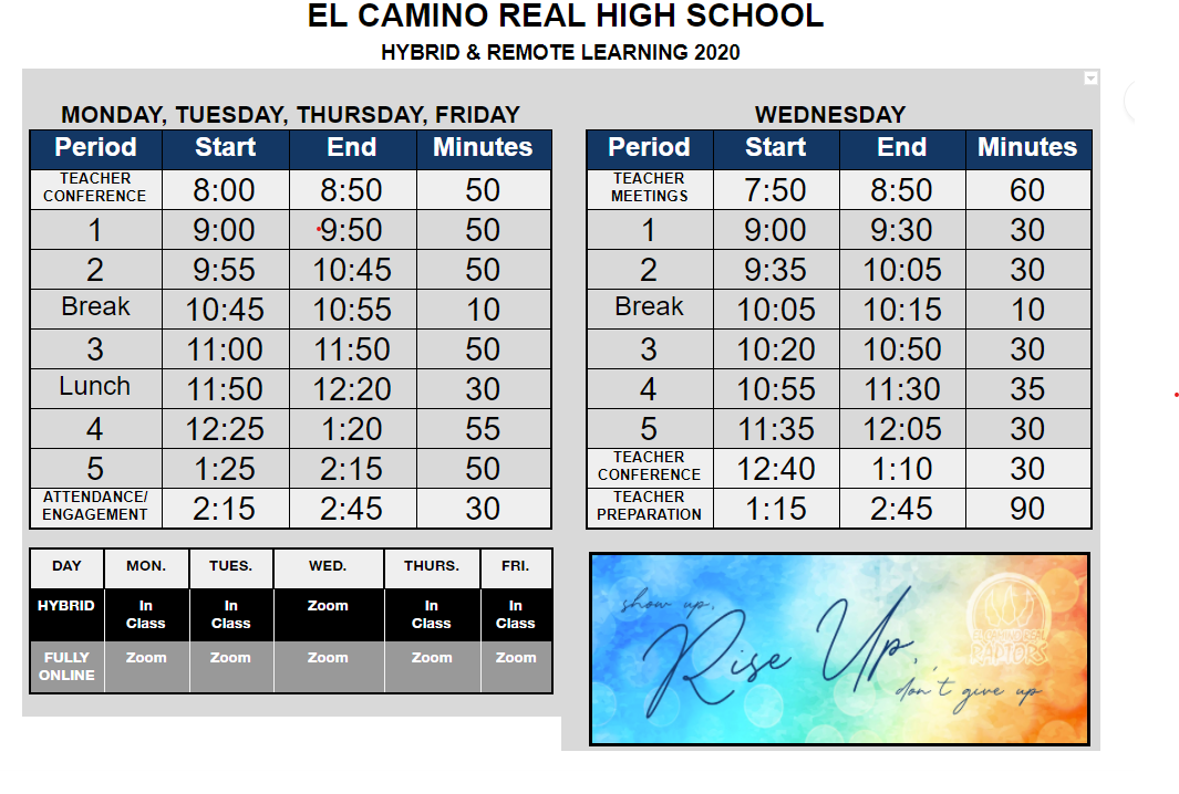 Bell Schedules as of 11/9/2020
