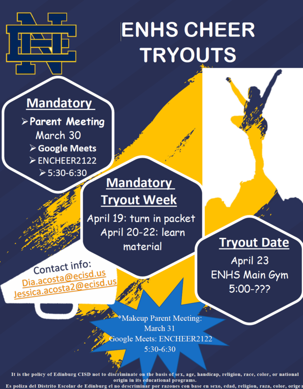 Edinburg North Cheer Flyer describes upcoming parent meeting and cheer tryouts and timeline.