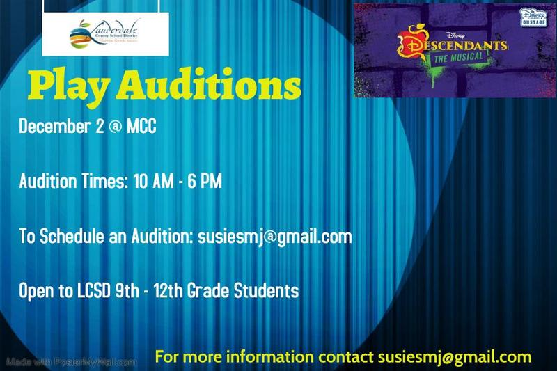 LCSD Play Auditions Announced