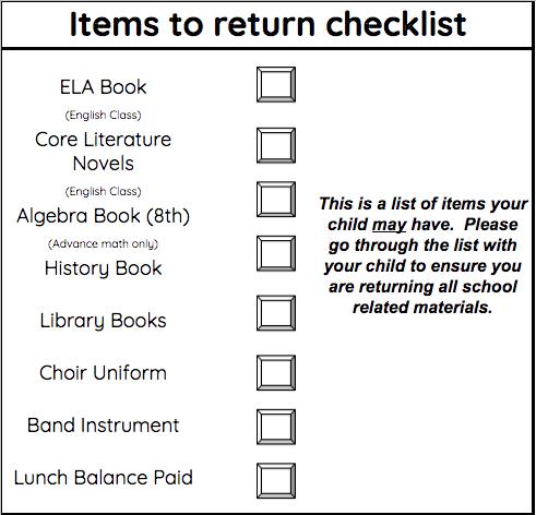 7th Grade Items to Return
