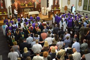 The OLSH Class of 2018 processes into the Chapel for Baccalaureate Mass