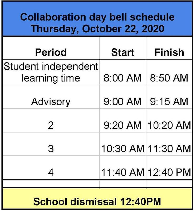 Collaboration Day 12:40 dismissal
