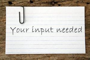 Input needed