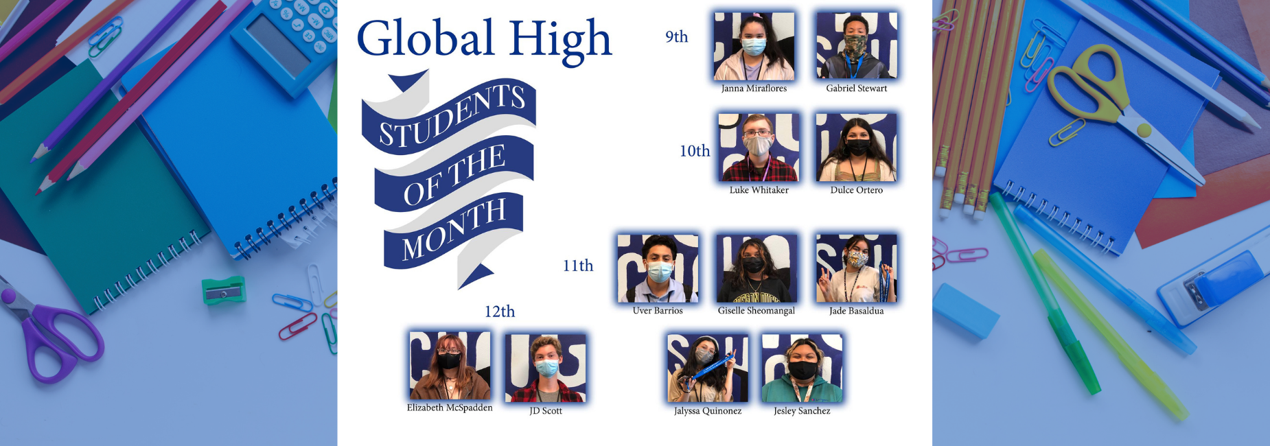 graphic collage of students reads students of the month