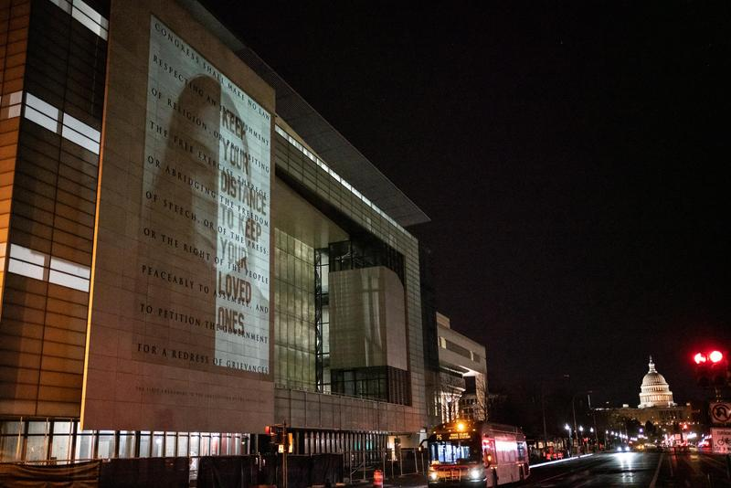 Photo projected on D.C. building
