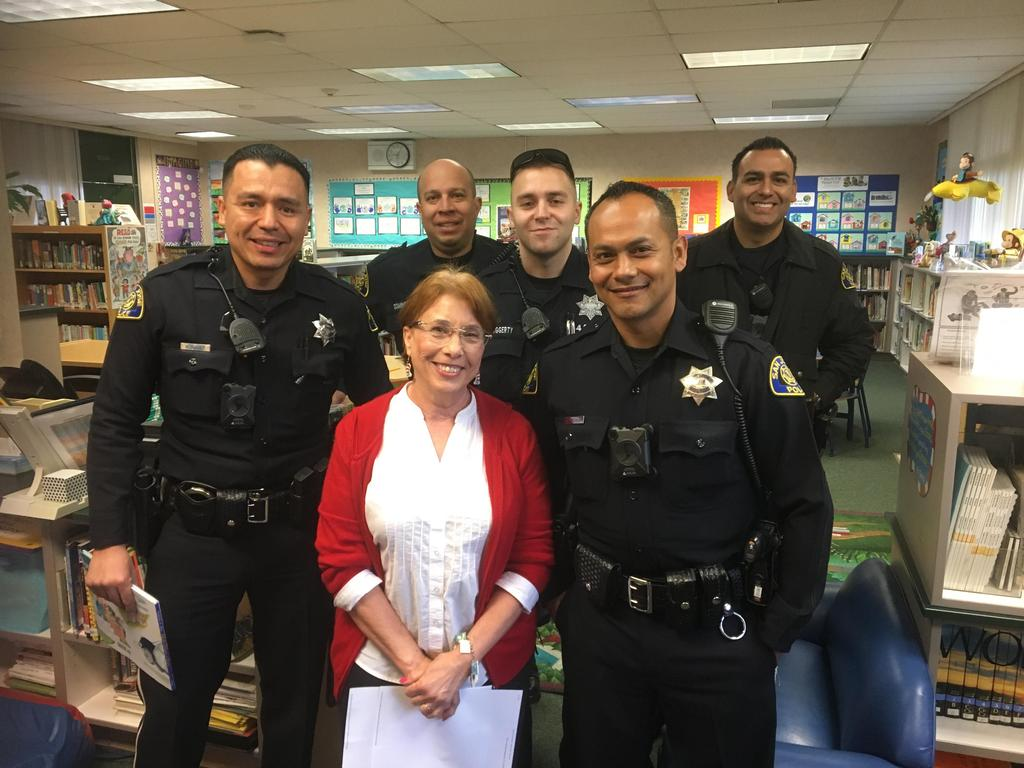 Police Officers with Librarian