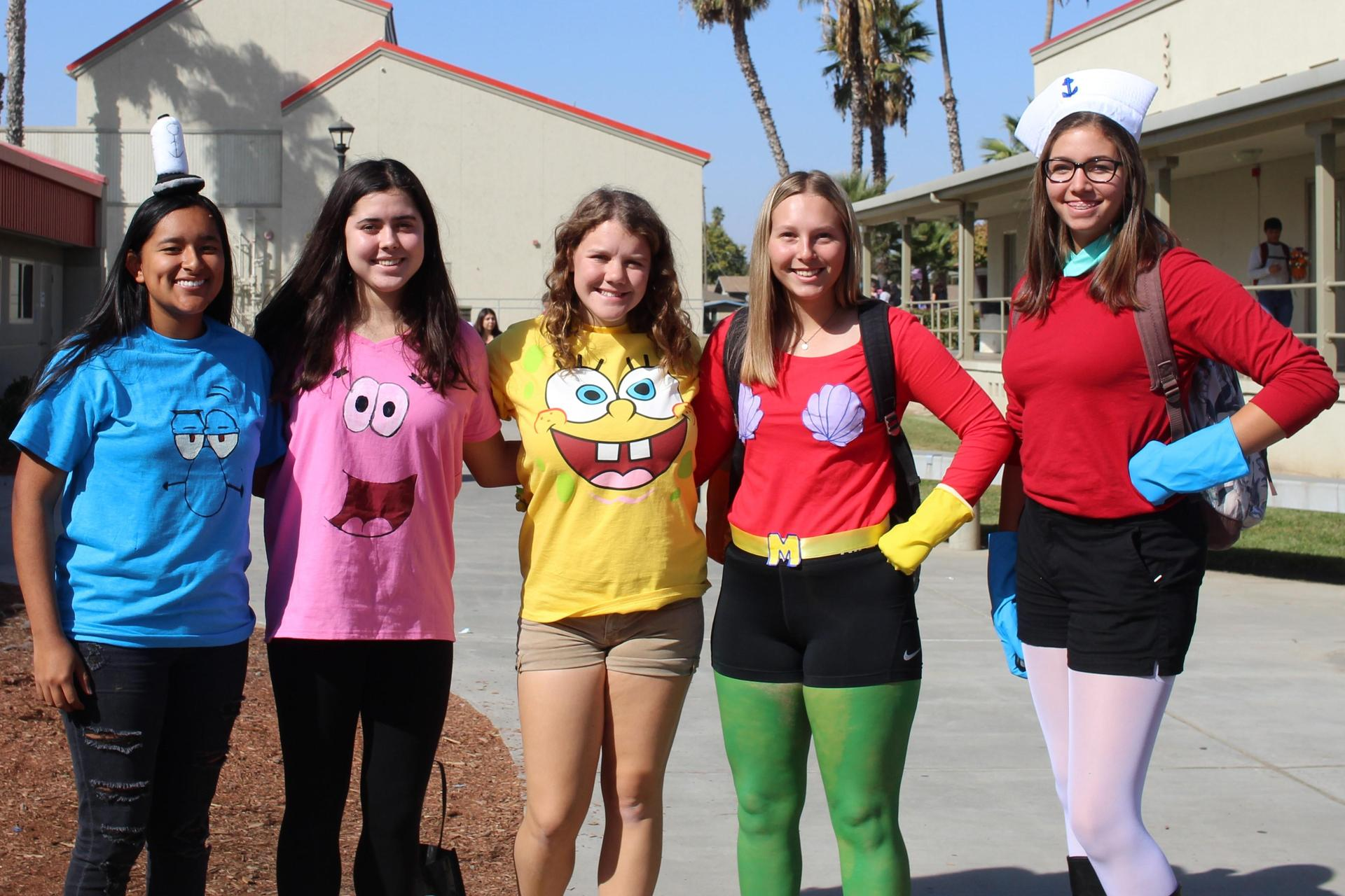 Paulina Granados as Squidward, Sydni Ringeisen as Patrick, Sydney Reardon as Spongebob, Sierra Calvert as Mermaid Man, Kealey Sabin as Barnacle Boy