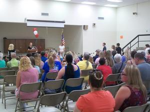 Parents visit honors assembly.