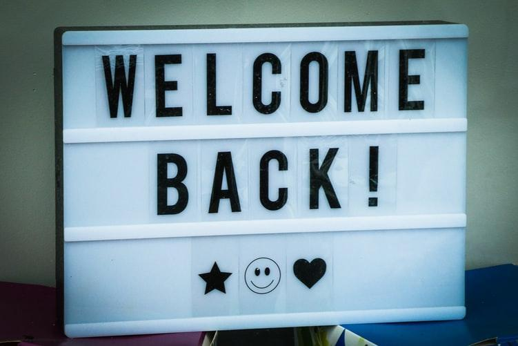 Welcome Back! Hearts and Smiley Face