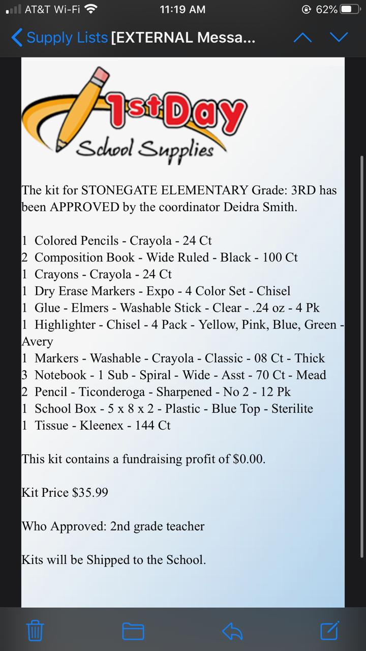 3rd Grade Supply List 20-21