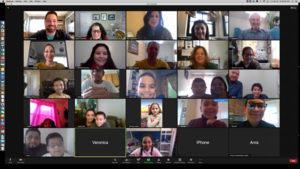Group smiling on zoom