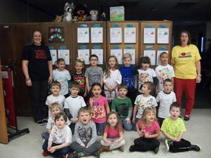 Kindergarten students dressed up 100 days of school outfits.