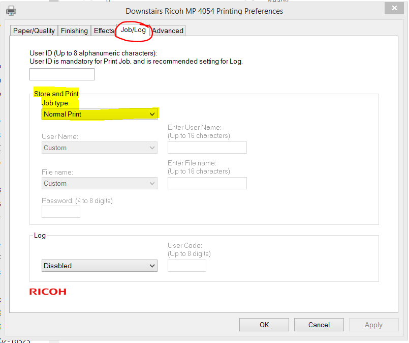 An image showing where to set Printer Preferences Job/Log