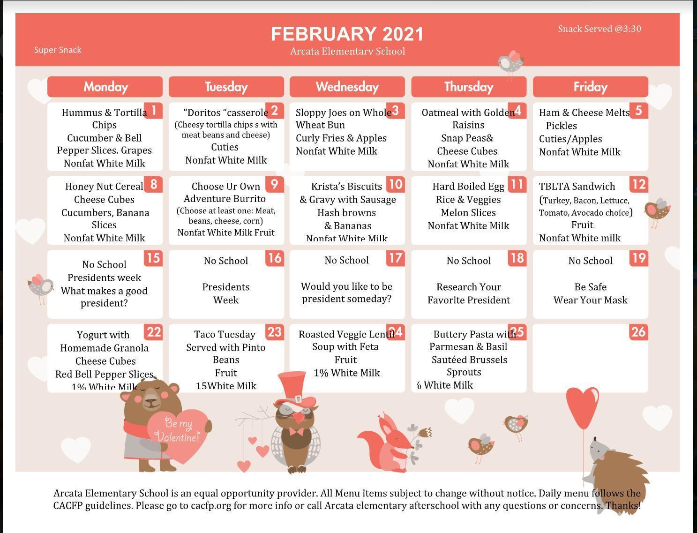 Feb. Super Snack Menu