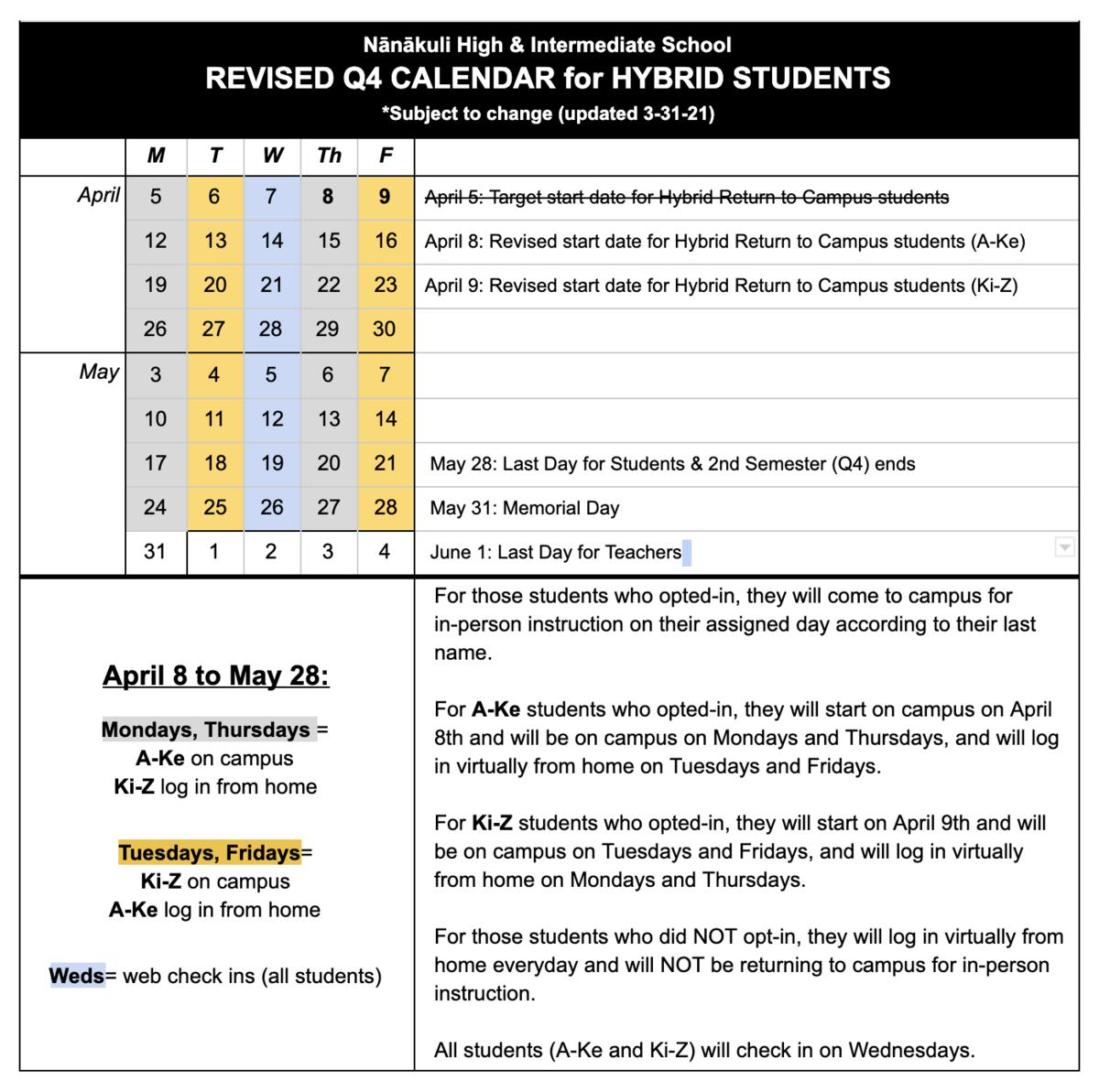 Q4 calendar