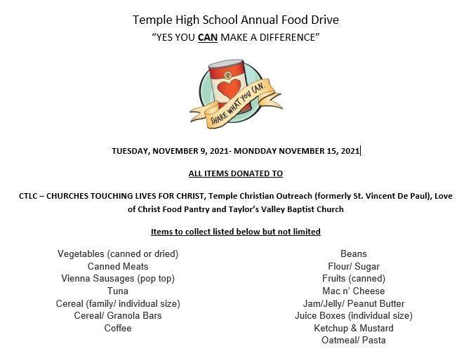 Temple High School Annual Food Drive - November 9-15, 2021 Featured Photo