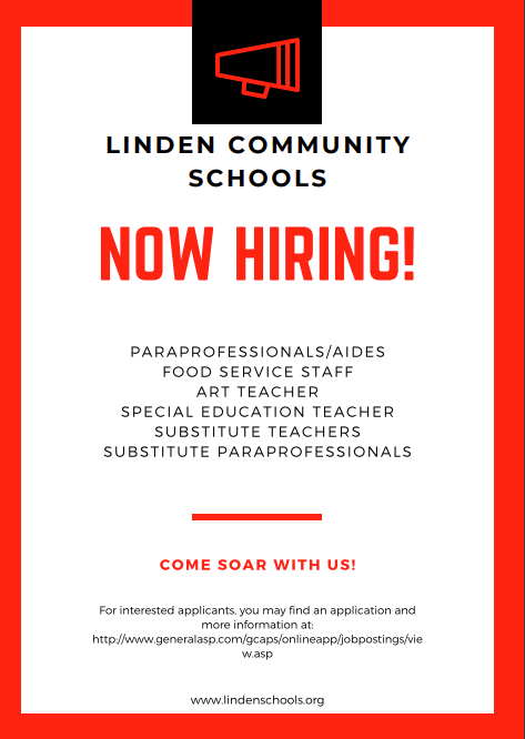 Linden Community Schools Now Hiring! Thumbnail Image