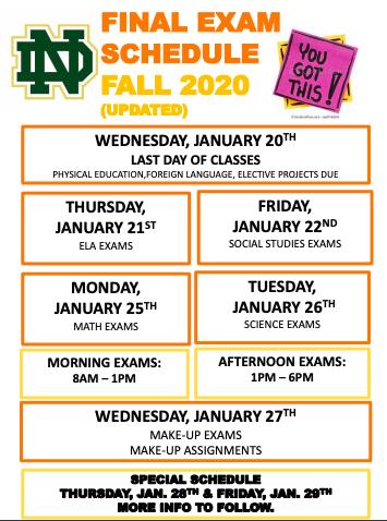 Fall Final Schedule 20-21