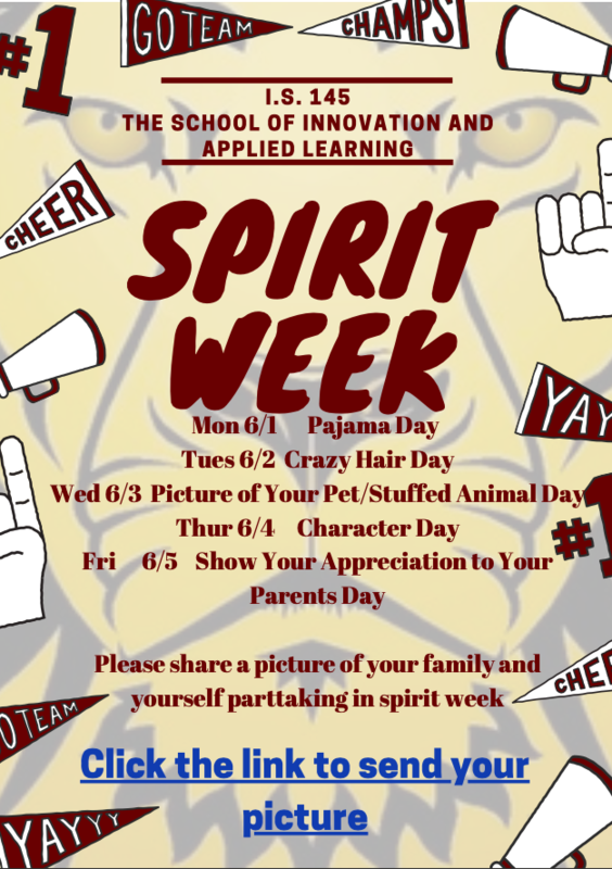 Virtual Spirit Week Calendar