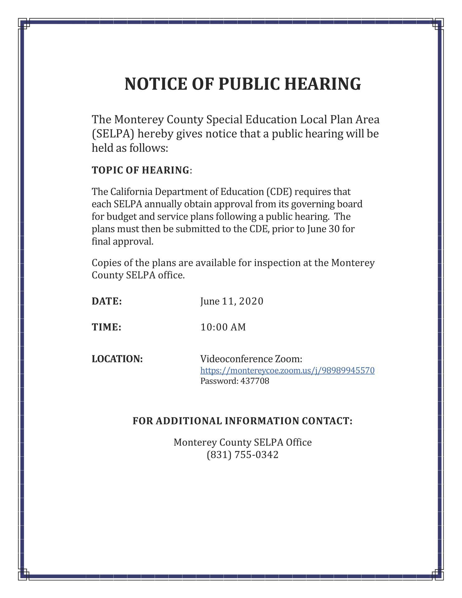 SELPA Public Hearing