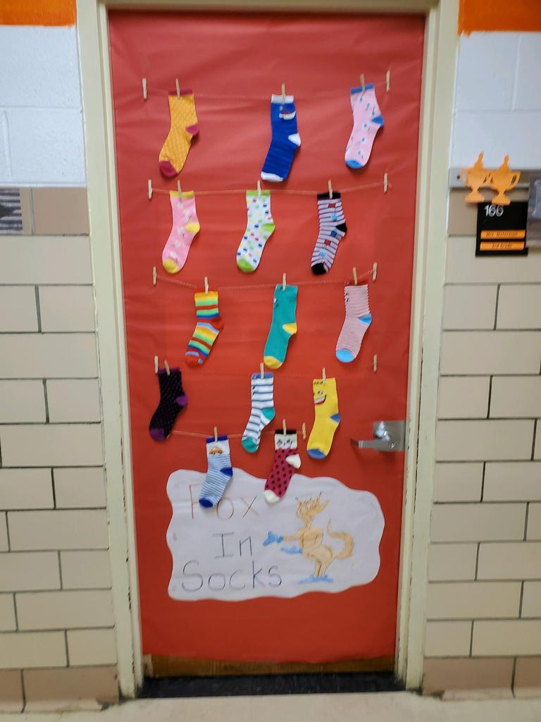 "Door decorated for contest with ""Fox in Sox"""