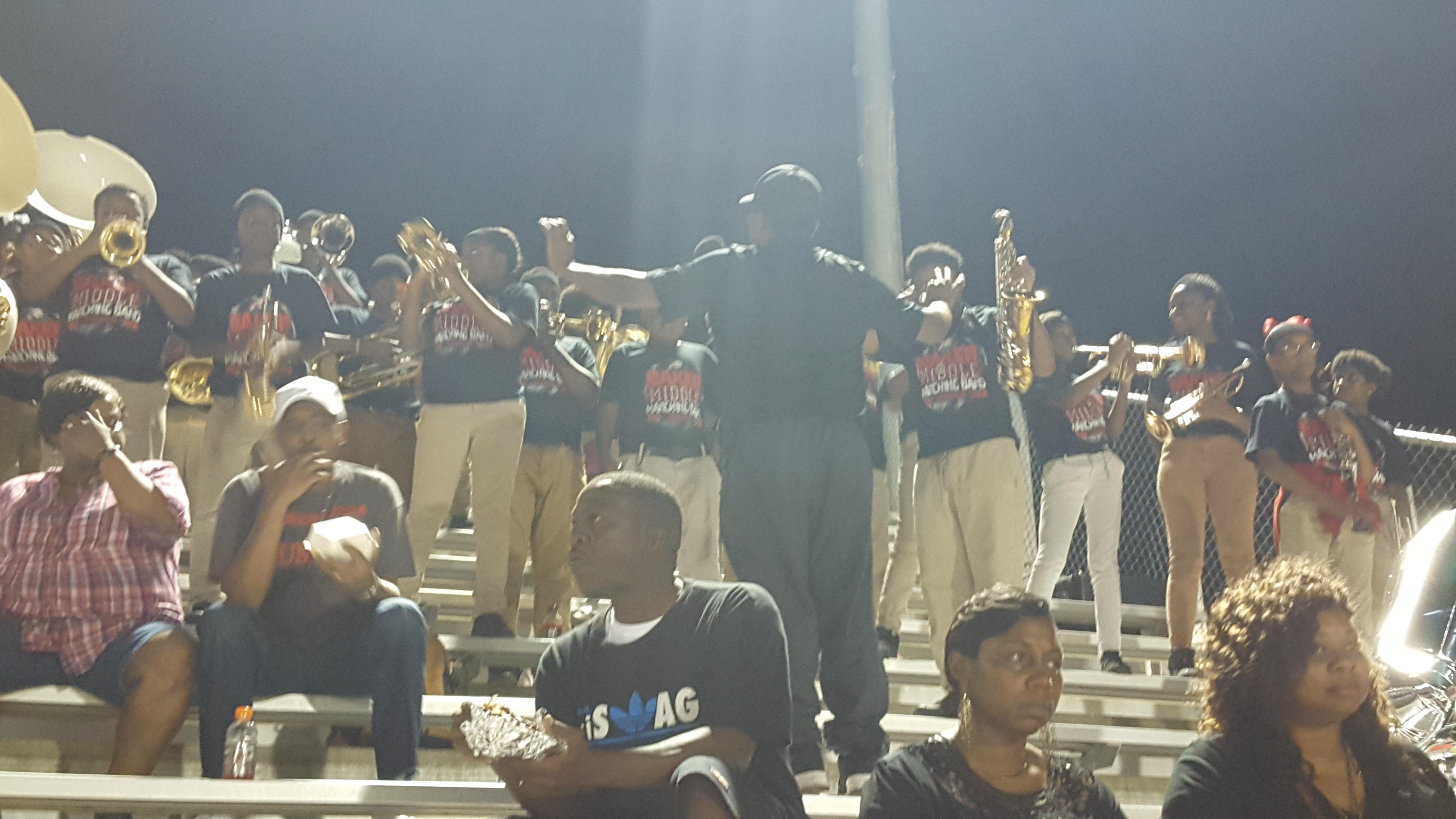 A candid photo of Baker Middle Band performing at Baker High School Football Game on November 3, 2017