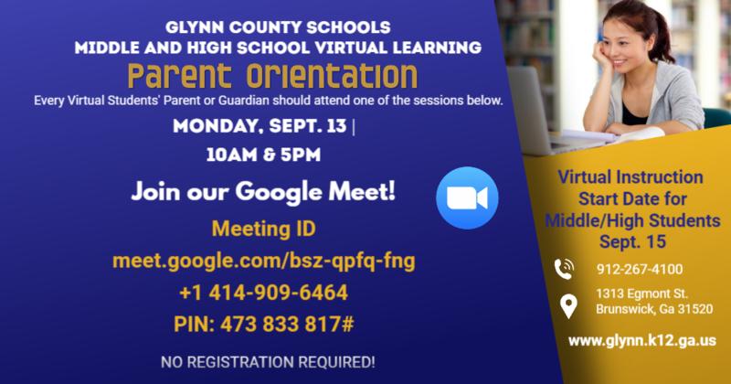 Middle & High School Virtual Orientation Flyer