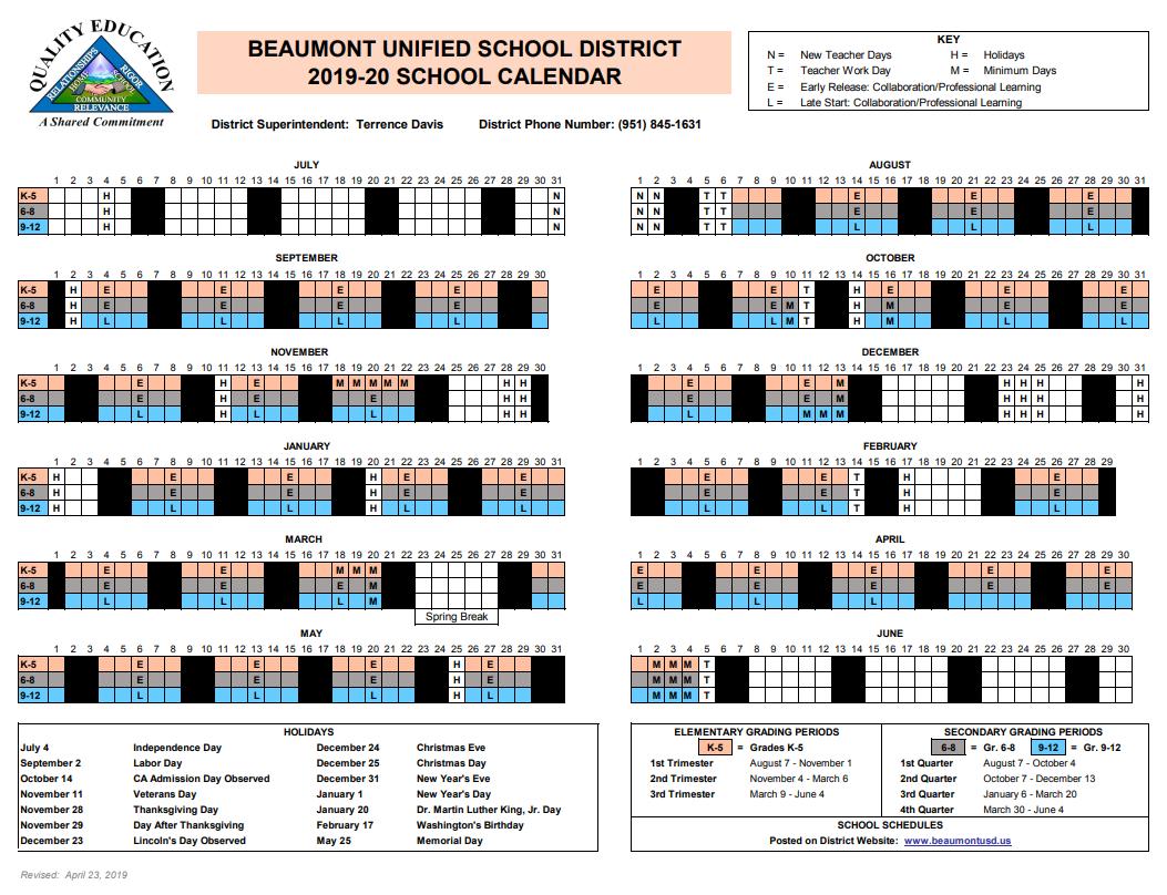 2019-20 Instructional Calendar