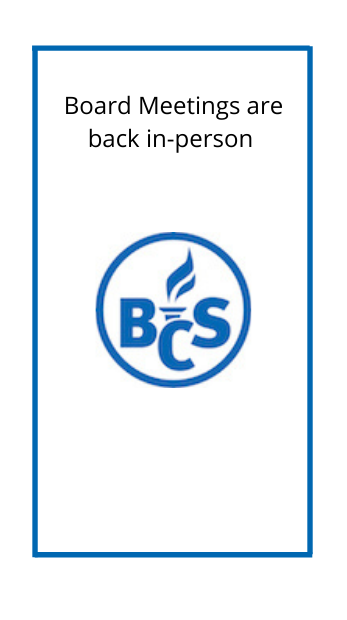 picture of the district logo and text that says BOE meetings are back in person