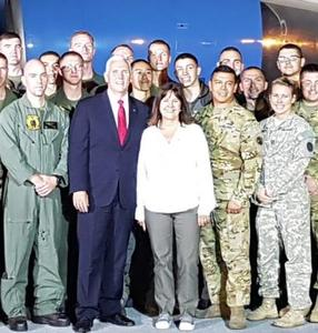 PSHS grad Raul Paul stands next to Second Lady Karen Pence