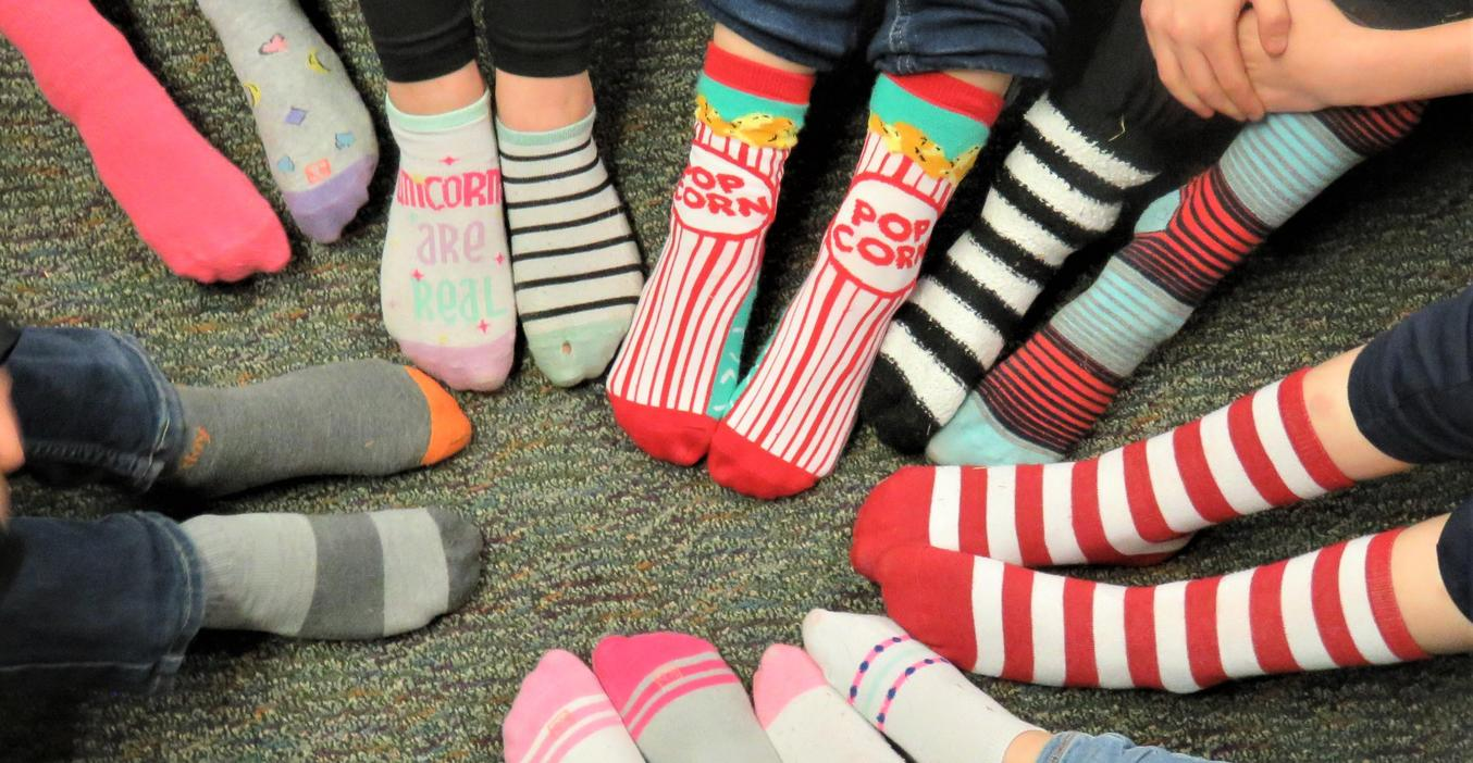 Crazy sock day is always a fun day for staff and students.