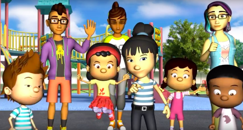 A group of animated characters standing together on a playground.