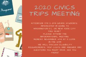 Civics Trip Flyer Orange and Cream Colored