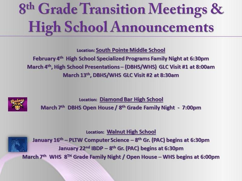 8th Grade Transitions Meetings and High School Announcements Featured Photo
